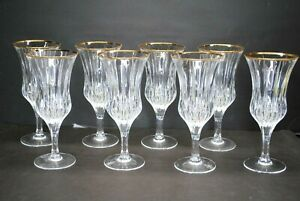 "RARE- UNUSED SET OF (8) GORHAM ""TRIUMPH GOLD"" CRYSTAL ICED TEA GLASSES"