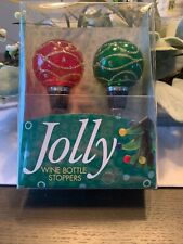 New listing Jolly Christmas Wine Bottle Stoppers Set Of 2 Nib