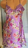 VICTORIA SECRET VINTAGE Purple Pink Floral Lace Cami Slip Chemise Gown MEDIUM