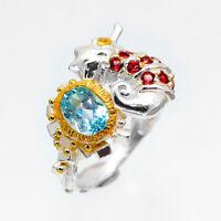 Seahorse Silver 925 Silver ring Natural Blue Topaz 925 Серебряное кольцо / RVS65