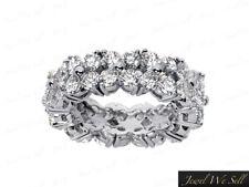 4.40Ct Round Cut Diamond Shared Flower Wedding Eternity Band Ring Platinum G SI1