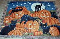 Halloween Fun ~ Pumpkins & Black Cats Tapestry Afghan Throw