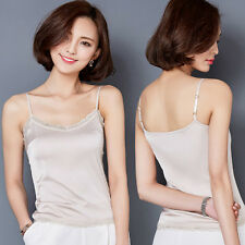 Women Lace Spaghetti Camisole Imitated Silk Strappy Sleeveless Vest Tank Top New