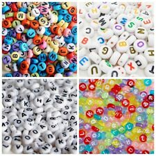 100 x Mixed Letter Alphabet Loose Bead Flat Round Pink Silver White Transparent