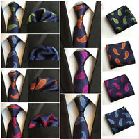 Men Silk Paisley Jacquard Woven Necktie Pocket Square Handkerchief Wedding Tie