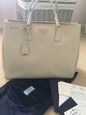 12e201a49db6 Authentic PRADA Saffiano Cream White Large Double Zip Galleria Lux Tote  Handbag