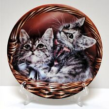 Bradford Collection Baskets Of Love Cat Plate Andrew & Abby 1993 1st Issue Nib