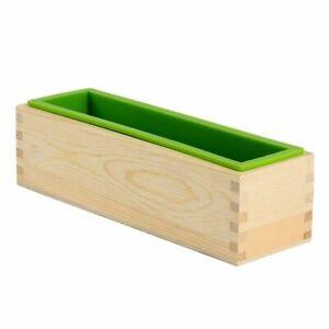 Rectangular Silicona Jabón Molde Con Caja de Madera Para Bricolaje Hecho a Mano