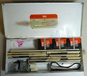 Vintage Uno Pen Stencil Boxed Set. 11 Stencils, 4 Nibs 3 Ink Bottles. Decent Box