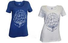 H.I.S Shirt 2 Stück S 36 blau + weiß Damen T-Shirt Druckshirt Baumwolle