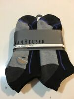 Van Heusen Men's Athletic Low Cut Socks 6 Pack Shoe Size 6-12.5 Black/Gray