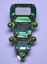 VINTAGE GREEN GLASS & GREEN RHINESTONE DRESS CLIP