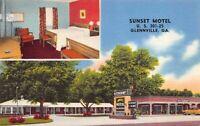 Linen Postcard Sunset Motel U.S. 301-25 in Glennville, Georgia~129650