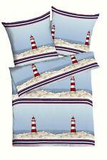 Kaeppel Edel Seersucker Bettwäsche Maritim Leuchtturm 135x200 / 155x220 cm