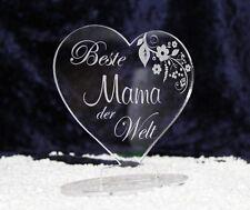 Stehendes Acryl Herz mit Gravur - Beste Mama Oma der Welt Geschenk Muttertag