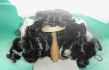 """doll wig black 10"""" to 10.5"""" shoulderlength with corls and ties"""