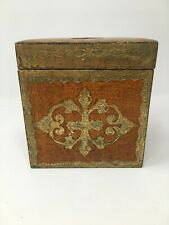 RARE Italian Florentine Orange and Gold Gilt Hollywood Regency Square Tissue Box