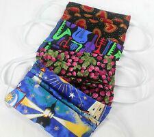 4 Cotton Face Masks w/ Pocket Hearts, Musical, Raspberries, Lighthouse Homemade