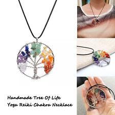Natural Crystal Quartz Gemstone 7 Chakra Healing Tree of Life Pendant Necklace