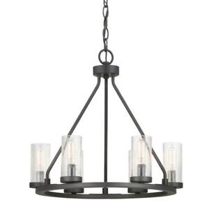 Hartwell 6-Light Graphite Chandelier with Antique Nickel Accents