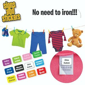 Stick On Name Labels for Clothes Clothing Stickers - NONE IRON - easy to apply 3