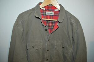 Mens L.L. BEAN Green Work Shirt Red flannel plaid lined Size Tall 2XLT Canada