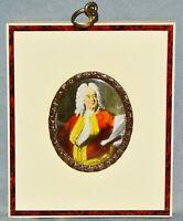 Miniatur Lupenmalerei Portrait Georg Friedrich Händel, handgemalt