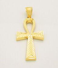 Mens Egyptian Ankh Cross Pendant 10k Yellow Gold Diamond Cut Ankh Cross 1.5 inch
