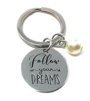 *UK* 925 Silver Plt 'Follow Your Dreams' Engraved Keyring Heart Love Inspire