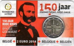 1x 2 euro commémorative Belgique 2014 - Croix-Rouge Type II NE (neuve) coincard