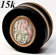 Antique Snuff Box, Grisaille Enamel Plaque, 15K Gold, Cupid, Hallmarks & Tested
