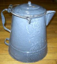 Large Gray Cowboy Coffee Pot Enamelware