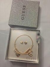 GUESS Charm Bracelet & Earrings Set Womens Jewelry Goldtone Multicolor NWB