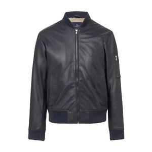Men's Hackett, Nappa Bomber Leather Jacket in Navy