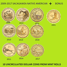 2009 - 2017  SACAGAWEA NATIVE AMERICAN  UNC. SET FROM MINT ROLL WITH 2001 BONUS