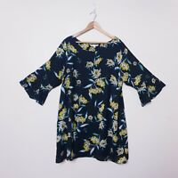 Yumi Plus Size 20 Black Yellow Floral Flared Sleeve Shift Dress