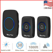 Wireless Doorbell Waterproof Door Chime 2 Remote Button+1 Plug-In Receiver Black