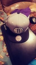 "Brooklyn Nets ADJUSTABLE Hat Cap ""2Tone Basic GRY/BLK"" Mitchell and Ness USED"