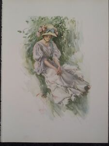 Blonde Southern Bell Summers Day Victorian Era Harrison Fisher 1907 Original