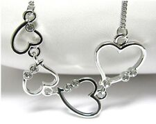 NEW WHITE GOLD PLATED RHINESTONE CRYSTAL MULTI HEART LINK LOVE NECKLACE