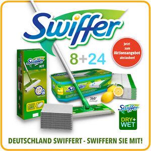 Set Swiffer Bodenwischer + 8 Bodentücher + 24 Feuchte Bodentücher mit Zitrusduft