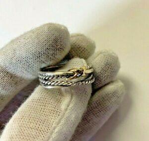 David Yurman Size 6.5 Crossover X Ring 925 Sterling Silver 18k Gold