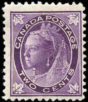 1897 Mint Canada F+ Scott #68 2c Maple Leaf Issue Stamp Hinged