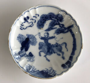 Chinese Tianqi Kosometsuke Porcelain Dish 17th Century Horse rider Hua Mulan