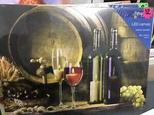 Christmas Canvas Picture 40cm x 30cm LED Light up - Candles And Wine