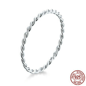 925 Sterling Silver Twist Rope Ring Fashion Jewelry Women Gifts Stackable Band