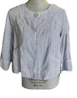Ann Taylor LOFT blue Seersucker 3/4 Sleeve Swing Jacket size 6