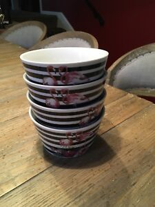 10 Strawberry Street - Set of 4 Flamingo Black and White Striped Bowls - New