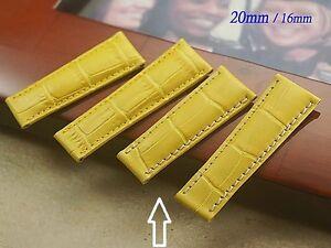 Genuine Leather Band Strap Bracelet (FITS) Rolex DAYTONA Yellow (7cm)+(6cm)