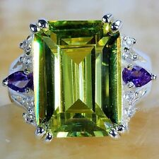 SIZE 7.75 New EMERALD CUT Citrine Purple Amethyst Sterling SILVER Fill RING